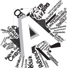 The typographic density here is all focused in the center, around and behind the huge A. http://fc09.deviantart.net/fs29/i/2010/014/4/f/Typography_Contrast_1_by_batucy.jpg