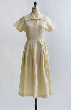 Flaxen Memories Dress / vintage 1950s day dress / 50s piqued cotton dress