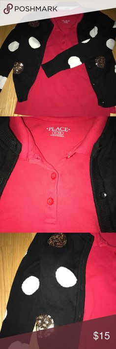 Beautiful sweater with matching polo shirt! Literally worn one time! EXCELLENT condition!!! Sweater is Cat and Jack size 7/8 and red polo t shirt is Childrens Place size 7/8! Great combination!! Shirts & Tops Sweaters