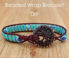 Wrap Bracelet Tutorial Using Blueberry Cove Beads by Craft me Happy! Step by step on how to make this DIY wrap bracelet using the Blueberry Cove Boho subscription box. Diy Bracelets Step By Step, Diy Bracelets How To Make, Diy Beaded Bracelets, Beaded Anklets, Ring Armband, Charm Armband, Armband Diy, Wrap Bracelet Tutorial, Estilo Hippie