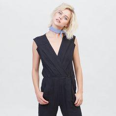 e7c1c48fd13 YSTR Lou Jumpsuit - Women s Black Sleeveless linen Jumpsuit with surplice  front Made Clothing