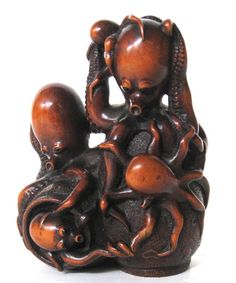 Japanese Antique Boxwood Okimono of Octopus Family