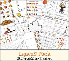 Free Leaves Activities Pack! Lots of Math and Language for ages 2 to 8. 3Dinosaurs.com