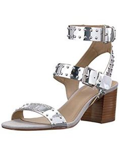 Fix Womens Studded Silver Mirror. ** Read more at the image link. (This is an affiliate link) Dress And Heels, Dress Sandals, Heeled Sandals, Block Heels, Fashion Shoes, Image Link, Footwear, Mirror, Amazon