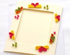 Tarjeta enclavijada de papel Quilling tarjeta foto marco
