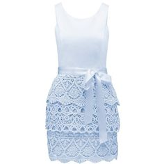 Forever New Brearne crochet skirt dress ($43) ❤ liked on Polyvore featuring dresses, vestidos, short dresses, horizon mist, mini dress, jersey dress, macrame dress, blue crochet dress and short jersey dress