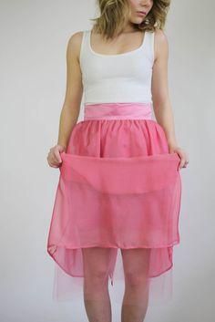 Fille en Rose - Sutie Skirts  - Pink Silk Midi Skirt