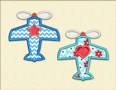 Star and Heart Planes for Babies Applique by EmbroideryLand
