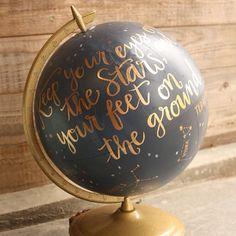 Hand-painted globe of night sky. Love.