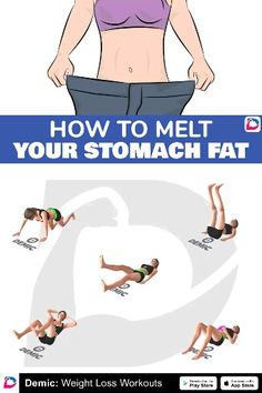 How To Melt Stomach Fat - Care - Skin care , beauty ideas and skin care tips Gym Workout Videos, Gym Workouts, At Home Workouts, Belly Fat Workout, Butt Workout, Fitness Herausforderungen, Health Fitness, Video Fitness, Fitness Studio Training
