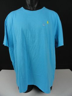 NWT Polo Ralph Lauren XXL Men T-Shirt Crew Neck Blue 100% Cotton SS Standard Fit #PoloRalphLauren #BasicTeeCrewNeck