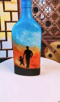 Plastic Bottle Art, Glass Bottle Crafts, Wine Bottle Art, Diy Bottle, Painting Glass Jars, Painted Glass Bottles, Bottle Painting, Art N Craft, Diy Art
