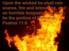 Psalm 11:6  (ESV)  6 Let him rain coals on the wicked;     fire and sulfur and a scorching wind shall be the portion of their cup.