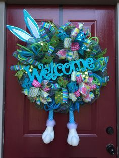 A personal favorite from my Etsy shop https://www.etsy.com/listing/207201761/easter-bunny-deco-mesh-wreath