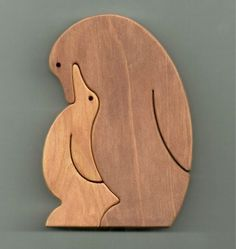 Intarsia wood, Wood puzzles, Woodworking crafts, Wood crafts, Wooden animals, Wooden puzzles - Penguin Wooden Standup Puzzle by wheelgiantpuzzles on Etsy - #Intarsiawood Woodworking Projects For Kids, Woodworking Toys, Wood Projects, Woodworking Patterns, Intarsia Holz, Diy Holz, Scroll Saw Patterns, Wooden Animals, Wooden Art