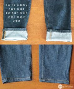 This awesome hemming trick allows you to shorten yours jeans and KEEP their original hem. It's crazy clever!How to hem jeans so that they keep the store bought look. I'm worried the original hem will stick out.DIY hemming job on Quick And Clever Sewing Hacks, Sewing Tutorials, Sewing Crafts, Sewing Projects, Sewing Patterns, Sewing Tips, Diy Crafts, Diy Clothing, Sewing Clothes