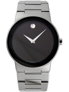 Movado 0605803 Safiro Black Dial Stainless Steel Mens Swiss Quartz Watch - Brushed And Polished Stainless Steel Case, 37mm Case Diameter $741