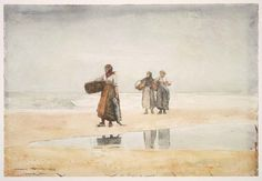 """""""Tynemouth Sands,"""" Winslow Homer, 1882–83, watercolor over graphite pencil on paper, 14 5/8 x 21 1/2"""", Museum of Fine Arts, Boston.:"""