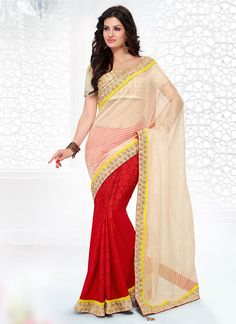 Cream And Red Embroidered Patch Border Work Jacquard Saree, Product Code :6651, shop now http://www.sareesaga.com/beautiful-cream-and-red-embroidered-patch-border-work-jacquard-saree-6651  Email :support@sareesaga.com What's App or Call : +91-9825192886