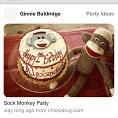 SockMonkey birthday cake for baby