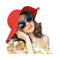 Partiss Womens Vintage Wide Brim Felt Bowler Hats