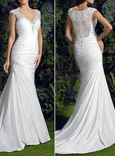 Trumpet/Mermaid V-neck Court Train Charmeuse Wedding Dress