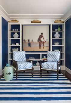 Digs Design Company - dens/libraries/offices - Benjamin Moore - Symphony Blue - navy blue and white home office, navy and white office, navy...