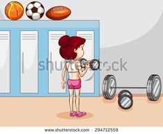 Girl lifting weight in the locker room - stock vector