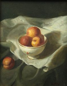 Leah Lopez :: Paintings :: Dish of Apricots