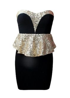Sequin Peplum Sweetheart Dress. Take off the sequin peplum and you have my perfect New Year's dress. Or at least change the peplum to black.