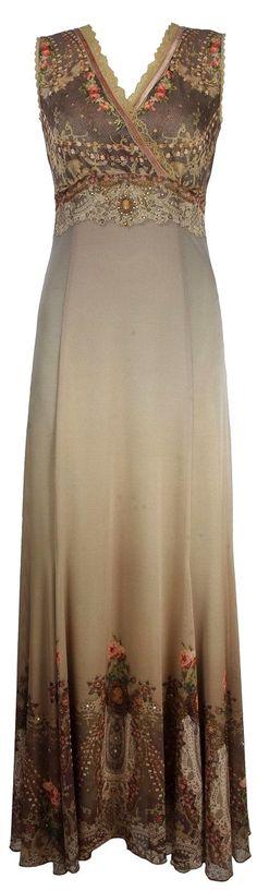 Michal Negrin Evening Long High-Waist Beige Dress