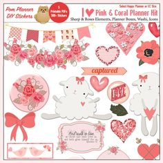 New Pink & Coral Planner Kit and Sticker Freebies