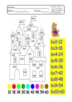 Multiplicação divertida. Atividades de multiplicação. Fatos da multiplicação ~ Espaço Professor School Frame, Fractions, Numerology, Math Activities, Worksheets, Teacher, Kids, Classroom Displays, Preschool Literacy Activities