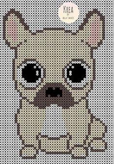 Bulldogs i perler Cat Cross Stitches, Cross Stitch Charts, Cross Stitching, Cross Stitch Patterns, Pearl Beads Pattern, Hama Beads Patterns, Beading Patterns, Beaded Cross Stitch, Cross Stitch Embroidery