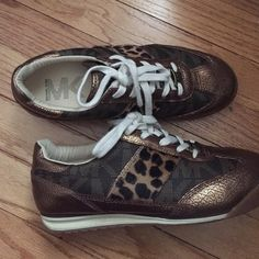 Fashion sneakers Michael kors sneakers worn twice. Gold, leopard & leather. Michael Kors Shoes Sneakers