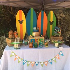 Surfboard backdrop at a Mickey's surf theme birthday party! See more party planning ideas at CatchMyParty.com!