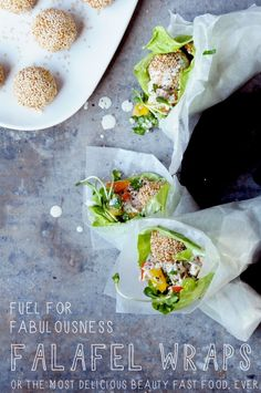 fabulous raw food falafel --flax flour, sesame, carrots, mushrooms + tahini sauce
