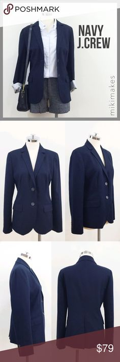J. Crew • classic navy blazer double button Like new J. Crew navy blazer.  Double button front and single back vent.  Sleeves have striped lining so it's perfect for rolling up.  Small hidden pocket on the inside for secret goodies.  Fully lined. J. Crew Jackets & Coats Blazers