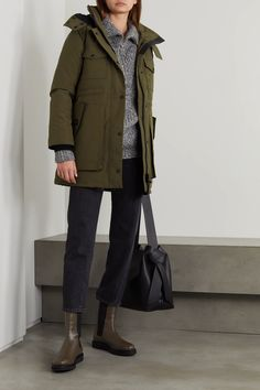 Army green Gabriola hooded quilted shell down parka | Canada Goose | NET-A-PORTER Fashion Advice, Fashion News, Canada Goose Parka, Just Style, Down Parka, Army Green, Chelsea Boots, Hoods, Military Jacket