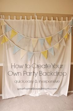 How to Create Your Own Party Backdrop How to Create Your Own Party Backdrop - this would be fun for NYE!<br> Create a fun, inexpensive, easy and quick party backdrop in a matter of minutes. So easy and versatile Picture Backdrops, Diy Photo Backdrop, Fabric Backdrop, Backdrop Ideas, Party Kulissen, Party Time, Party Ideas, Grad Parties, 1st Birthday Parties