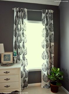 How To Stencil Tutorial Diy Fabric Damask Designer Curtains For Less