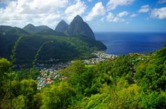 Budget Caribbean - St. Lucia Pitons Mountains with Village