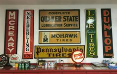Original Porcelain & Tin Tires Sign Collection Display! Garage Art, Man Cave Garage, Super Tired, Custom Garages, Tin Signs, Oil And Gas, Displaying Collections, Gas Station, Vintage Advertisements