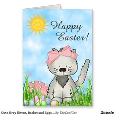 Cute Grey Kitten, Basket and Eggs Happy Easter Cat Greeting Card