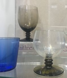 Caithness Glass tumbler in Loch Blue and wine goblets with ribbed stem in Peat and clear glass with Moss Green stem Clear Glass, Wine Glass, Caithness Glass, Heritage Museum, Wine Goblets, Tumbler, Tableware, Green, Blue