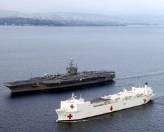 aircraft carrier and hospital ship