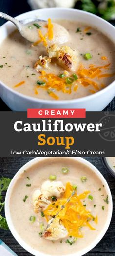 This Creamy Roasted Cauliflower Soup Is Rich, Smooth And Packed With Flavor. This Simple No-Cream, Low Carb Soup Will Definitely Satisfy Your Cravings For Comfort Food Grilling Recipes, Lunch Recipes, Easy Dinner Recipes, Soup Recipes, Easy Meals, Healthy Recipes, Chili Recipes, Creamy Cauliflower Soup, Roasted Cauliflower