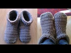 (crochet) How To - Crochet Simple Adult Slippers for Men or Women - YouTube