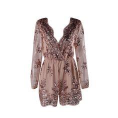 champagne v neck romper, sequins jumper, romper with belt - Lyfie