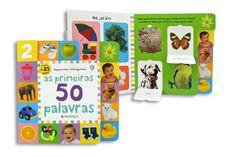 """""""As Primeiras 50 Palavras"""" é um livro que estimula o desenvolvimento cognitivo e a associação visual. É ideal para crianças curiosas e pais atentos!"""
